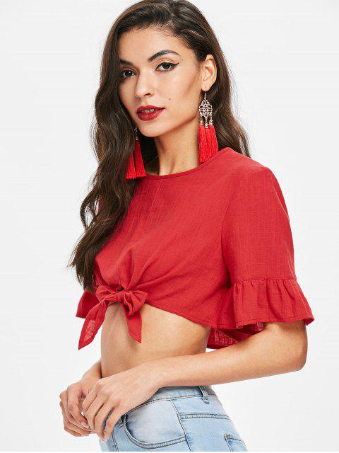 outfits Ruffle Sleeve Knot Crop Top - LAVA RED L Mobile