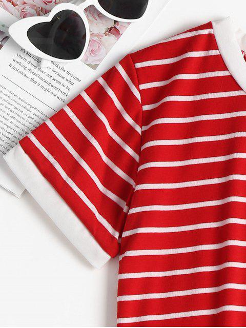 unique Striped Cropped T-Shirt - FIRE ENGINE RED M Mobile