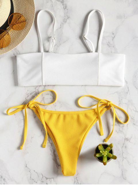 Zwei Farbe Gerippter String Bikini - Helles Gelb S Mobile