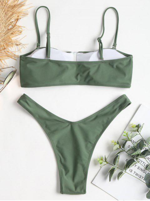 trendy Zip-up High Leg Bikini Set - DARK SEA GREEN L Mobile