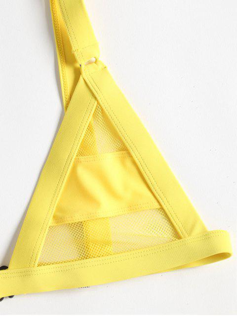 outfits ZAFUL Mesh Panel Bandage Bikini - YELLOW XL Mobile