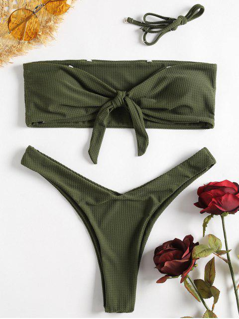 womens Textured Bowtie Bandeau Bikini - MEDIUM FOREST GREEN L Mobile