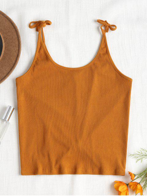 outfit Ribbed Twist Tank Top - SCHOOL BUS YELLOW L Mobile