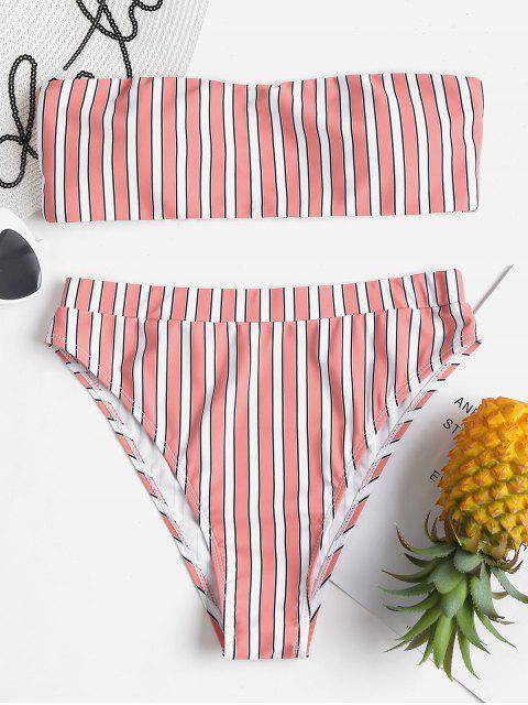 Bikini de talle alto con rayas bandeau - Multi-J L Mobile