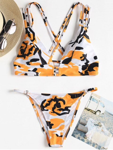 ladies Camo Strappy String Bikini - ORANGE L Mobile