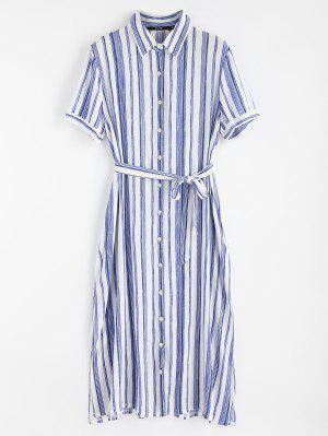 High Slit Striped Shirt Dress - Blue L