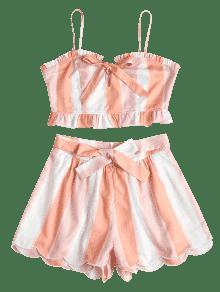 Anudada Anudados Delantera Conjunto Cortos Parte S Claro Con Rosa Y Pantalones De RwFqOU