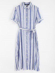 فستان بنمط قميص - أزرق L