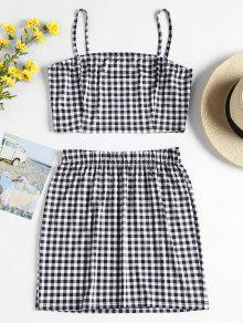 Gingham Jersey Top And Skirt Two Piece Set - متعدد S