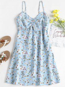 الأزهار طباعة ميني الإمبراطورية الخصر فستان الشمس - ضوء السماء الزرقاء L
