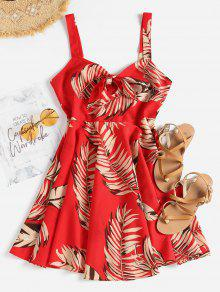 يترك طباعة ربط اللباس الأمامي - الحب الاحمر L