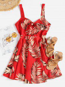 يترك طباعة ربط اللباس الأمامي - الحب الاحمر M