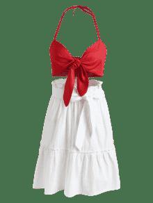 M Skirt Tie Top Knot Conjunto De Dos Rojo Piezas Lava THFqAHw