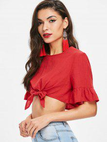 f6cfa306380a1e 55% OFF  2019 Ruffle Sleeve Knot Crop Top In LAVA RED