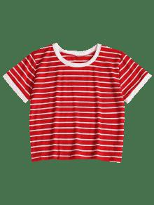 Bomberos Cami De M De 243;n Camiseta Rayada Rojo Corta wIqnHxx0F1