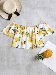 Off Crop Top Lemon The Blanco Xl Print Shoulder 665Hq