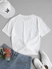 Con Camiseta Pi S a Estampado Relajada Blanco De rrwqHdPT