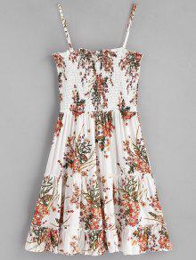 S Slip Vestido Smocked Floral Blanco nzdIqd17
