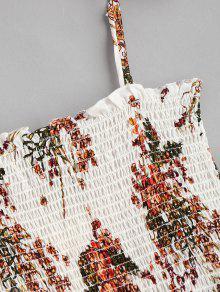 Vestido S Smocked Floral Slip Blanco IqrIA