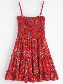 Vestido Mini Cereza M Floral Ahumado Rojo 1FqdFrwP