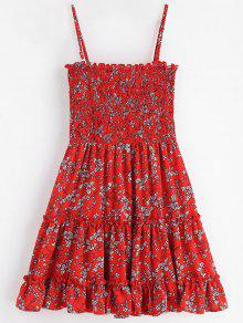 Mini Vestido Floral Ahumado - Rojo Cereza M