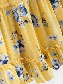 Amarillo Vestido Fruncidos Ma De Con Volantes SrEtqwgYPr