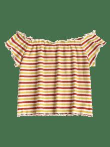 La Multicolor Del Parte Superior Hombro M Acanalado De Striped EqUf0f