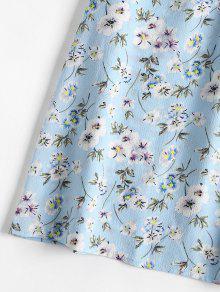 Estampado Mini Cintura Sundress Ligero De Celeste Estampado Con L De Floral qIRxnwaIg