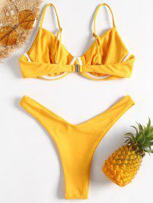 53c9d5f65 العربية ZAFUL | المطاط الحبيب الأصفر Underwire High Leg Bikini Set 2019  [12% OFF]