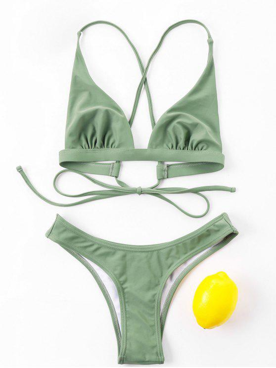 Tie Back High Cut Bikini Set - الجيش الأخضر XL