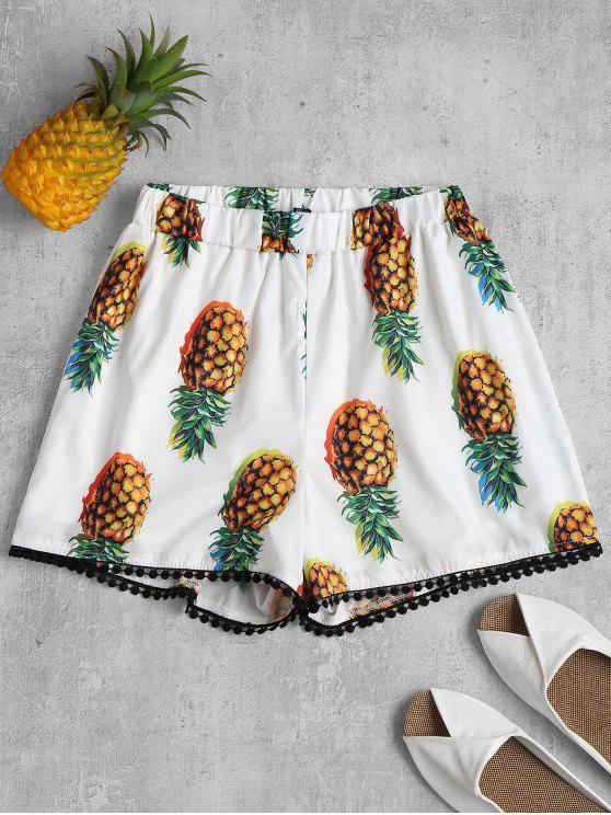 Pantaloncini Stampati Ananas Con Bordi All'uncinetto - Bianca L