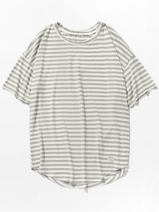 women Short Sleeves Stripe Tee - GRAY 2XL