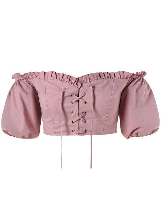 6a39bc547bc8 2019 Lace-up Off Shoulder Crop Blouse In KHAKI ROSE L