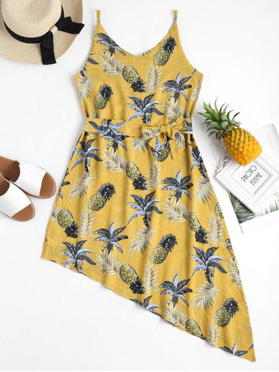 affordable Pineapple Palm Asymmetrical Summer Dress - YELLOW L