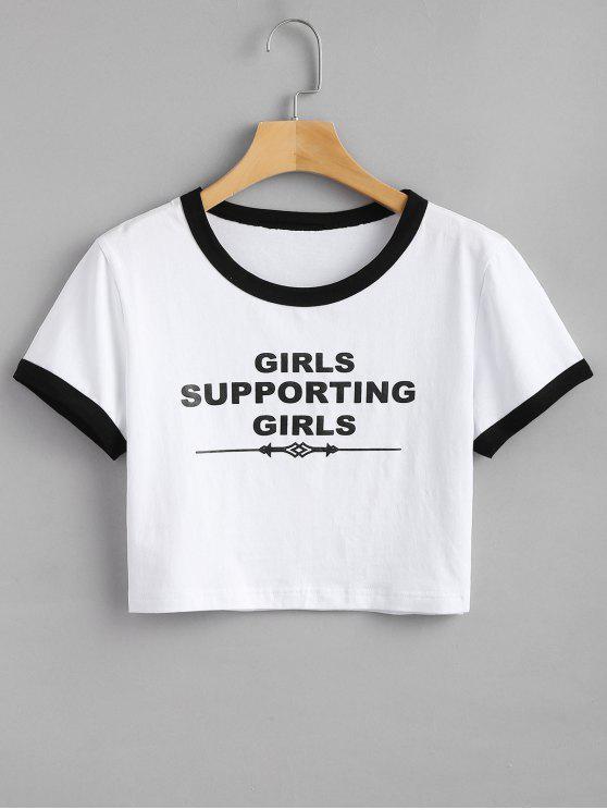 Camiseta con estampado de letras - Blanco S