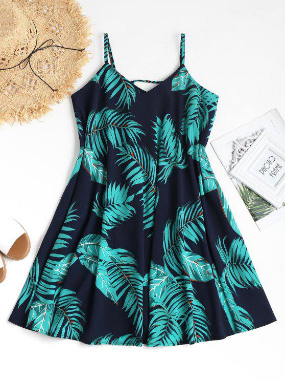 affordable Tropical Print Mini Swing Summer Dress - NAVY BLUE M