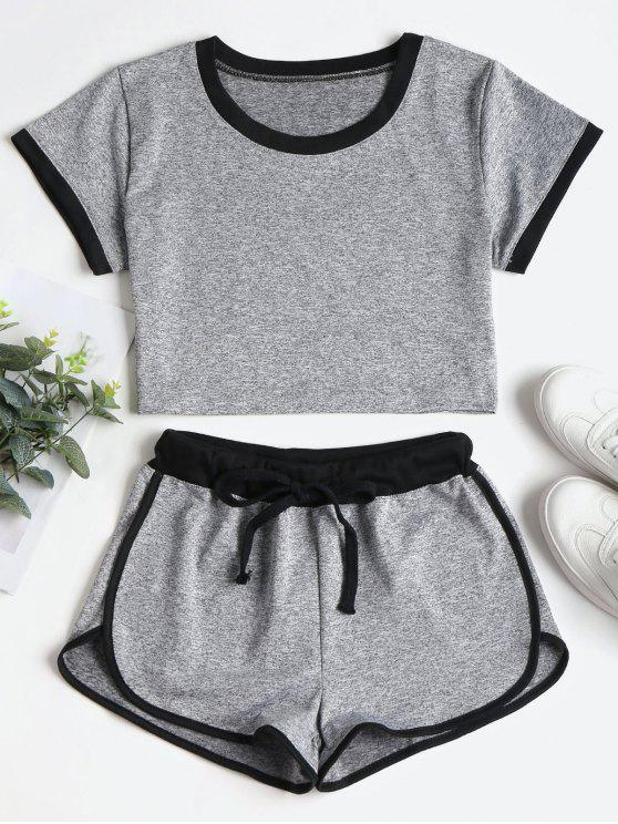 new Contrasting Binding Crop Top Shorts Tracksuit - GRAY L