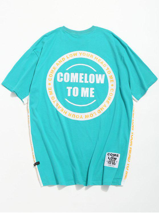 fashion Letter Pattern Casual T-shirt - MACAW BLUE GREEN L