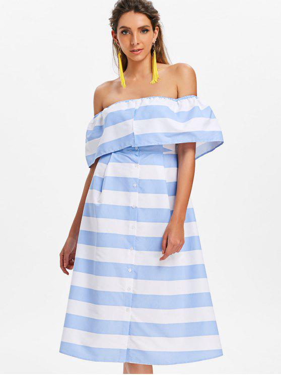 outfits Off Shoulder Striped Dress - POWDER BLUE L