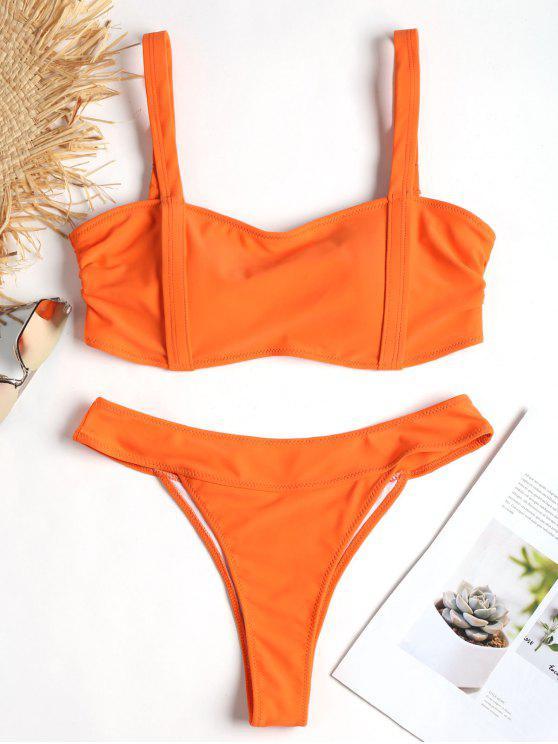 trendy Banded High Leg Bikini Set - MANGO ORANGE M
