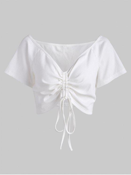 fashion Plus Size Ruched Plunge Tee - WHITE 4X