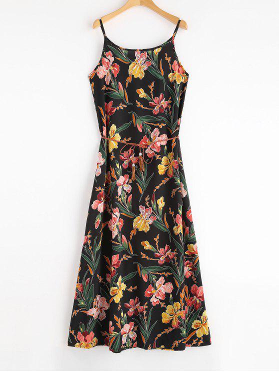 الأزهار ماكسي شاطئ زلة اللباس مع حزام - أسود L