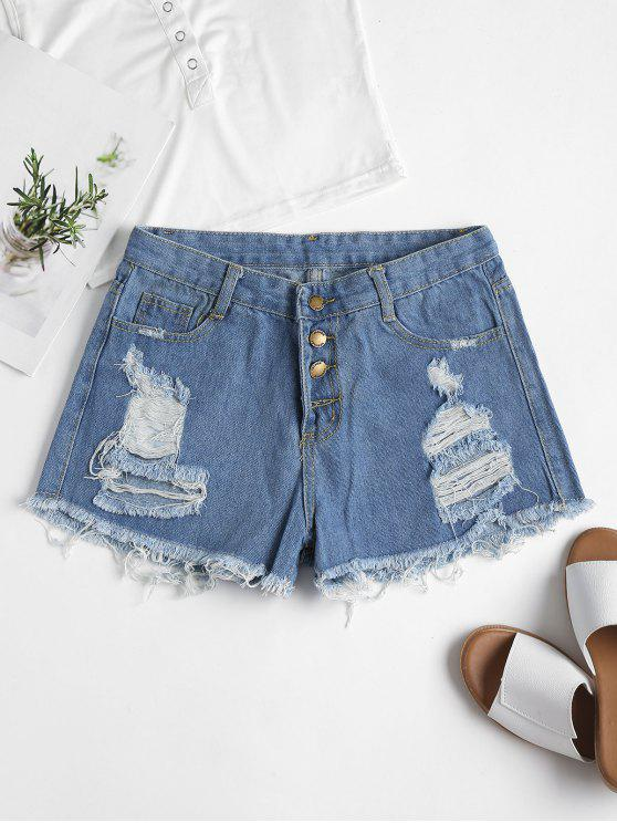 affordable Ripped High Waisted Denim Cutoff Shorts - DENIM BLUE M