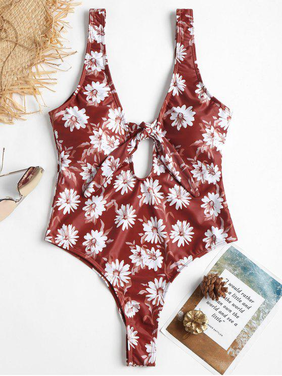 Costume Da Bagno Floreale Senza Schienale Con Taglio Alto - Rosso Mollissima M