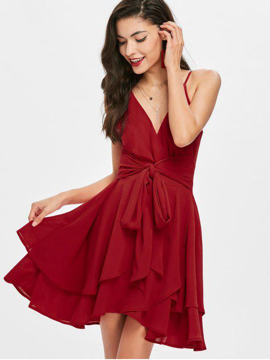 outfit Tie Front Tiered Surplice Dress - RED S