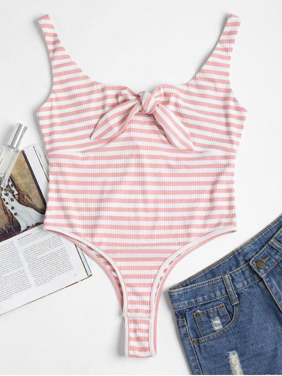 trendy Striped Bunny Tie Ribbed Thong Bodysuit - LIGHT PINK L