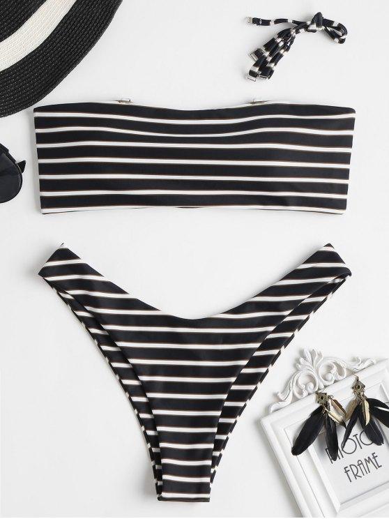 Swimwear Biquini Bandeau Listrado - Preto M