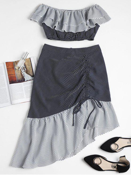buy Striped Off Shoulder Top Midi Skirt Set - MULTI S