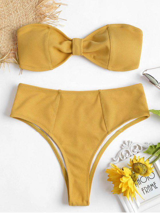 Geripptes Knoten Hoch Tailliertes Bikini-Set - Niedliches Gummi Gelb L