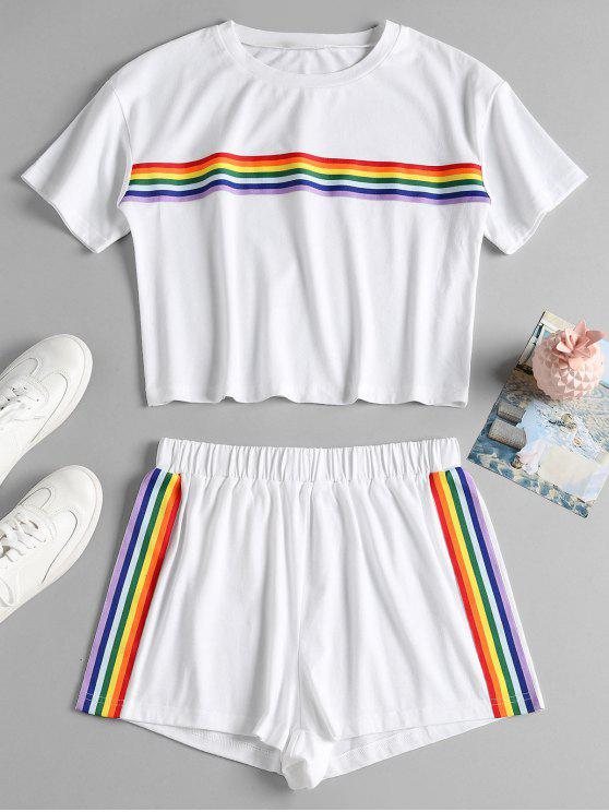 hot Striped Patched Shorts Set - WHITE L